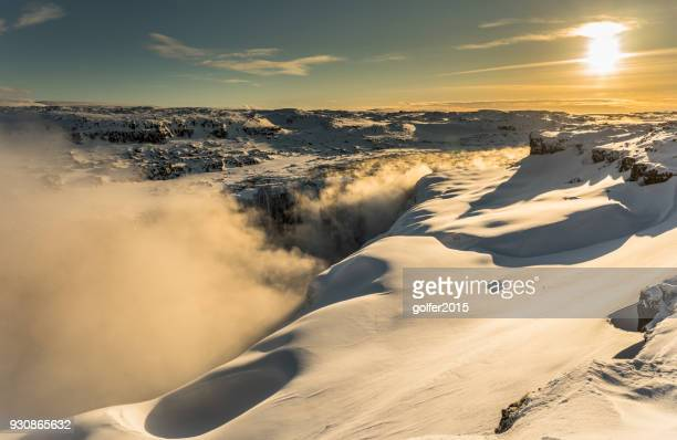 dettifoss waterfall - sunrise - north iceland - dettifoss waterfall stock photos and pictures
