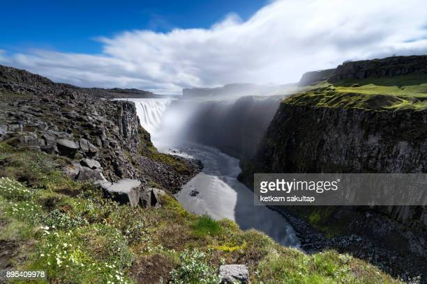Dettifoss waterfall with a Jökulsárgljúfur canyon in northern Iceland.