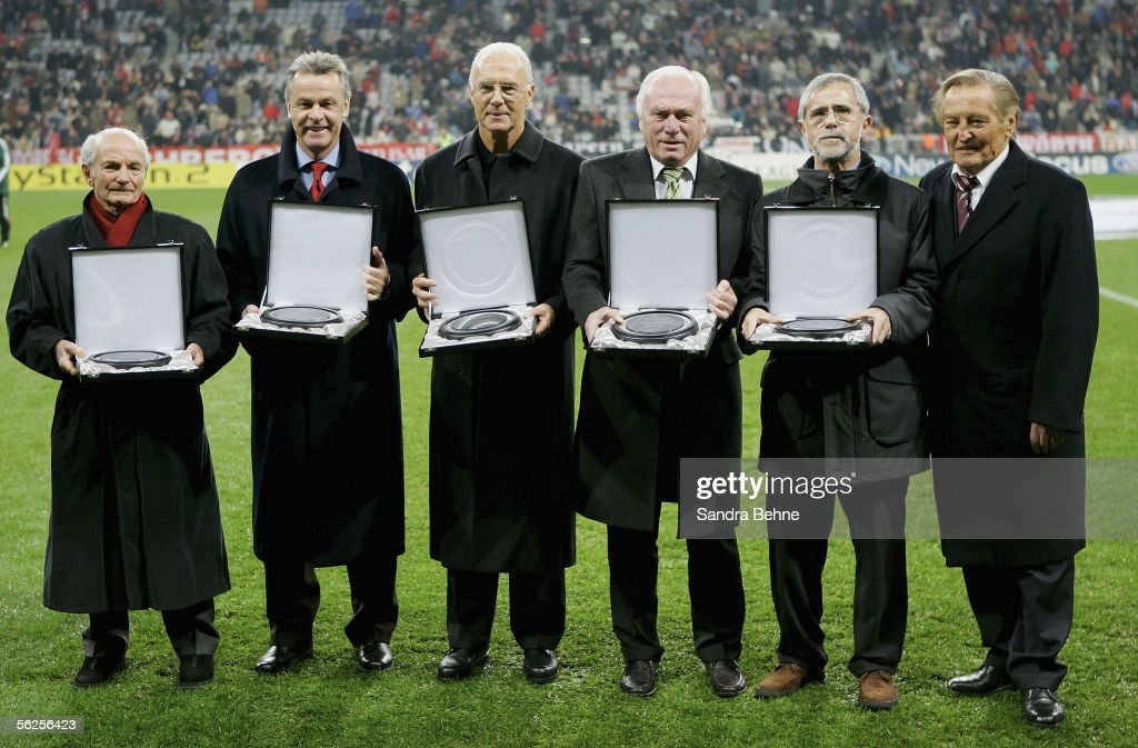 Dettmar Cramer, Ottmar Hitzfeld, Franz Beckenbauer, Udo Lattek, Gerd Mueller and Gerhard Mayer-Vorfelder attend a presentation before the UEFA Champions League group A match between Bayern Munich and Rapid Vienna at the Allianz Arena on November 22, 2005 in Munich, Germany.