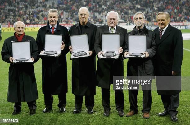 Dettmar Cramer Ottmar Hitzfeld Franz Beckenbauer Udo Lattek Gerd Mueller and Gerhard MayerVorfelder attend a presentation before the UEFA Champions...