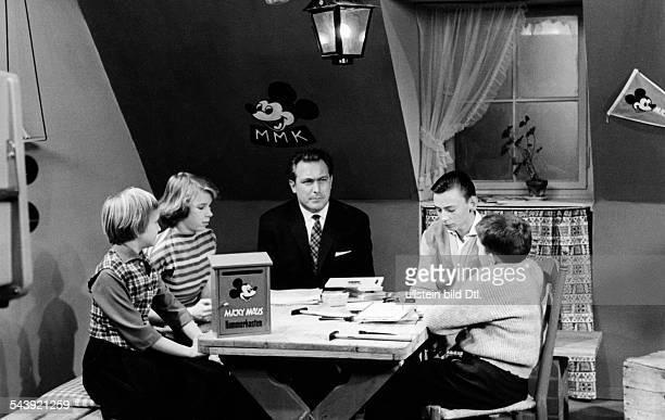 Dettmer Frank television host Germanyat the set of a television show for children Photographer Ullmann Published by 'Radio Revue' 11/1959Vintage...