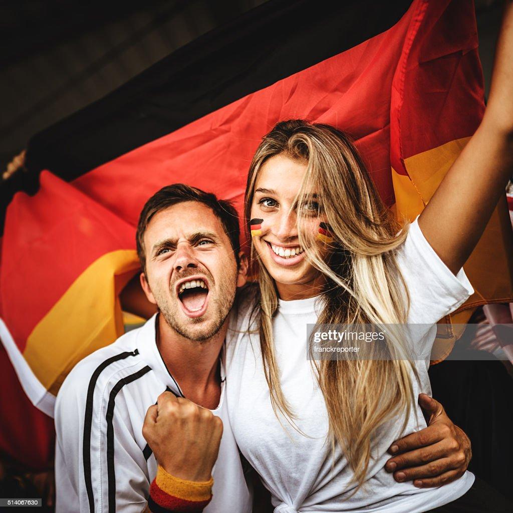 deutsch Unterstützer im Fußballstadion : Stock-Foto