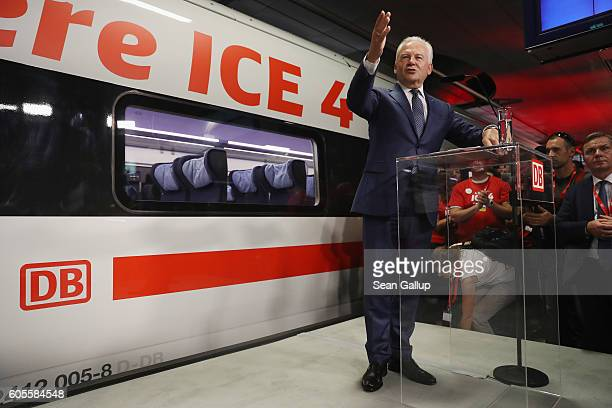 Deutsche Bahn head Ruediger Grube speaks at the official presentation of the new ICE 4 highspeed train at Berlin's Hauptbahnhof main railway station...