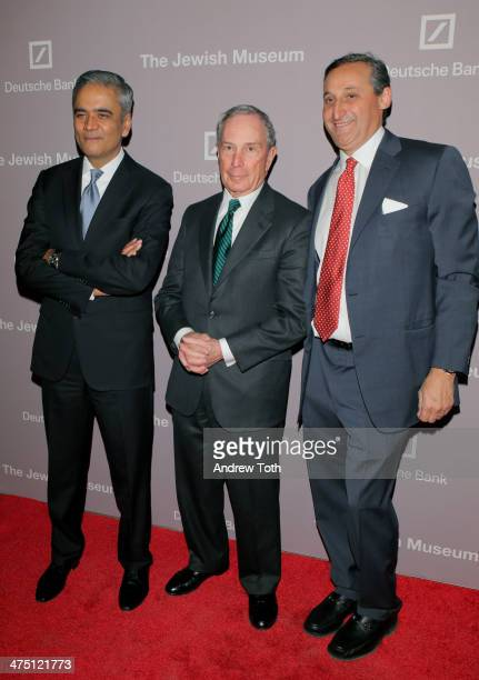 Deutsche Bank CEO Anshu Jain Michael Bloomberg and Deutsche Bank CEO North America Jacques Brand attend the Jewish Museum's Purim Ball 2014 at Park...