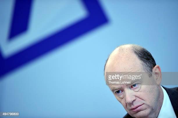Deutsche Bank coChairman John Cryan speaks to the media at Deutsche Bank headquarters on October 29 2015 in Frankfurt Germany This is Cryan's first...