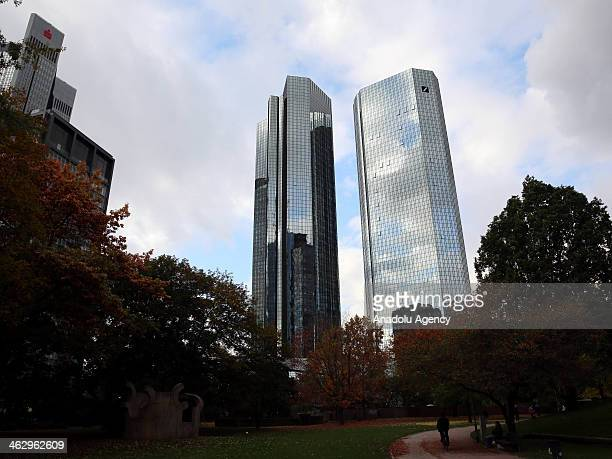 Deutsche Bank Twin Towers are global banking and financial services company with 40storey 155m in Frankfurt am Main Germany on October 20 2013...