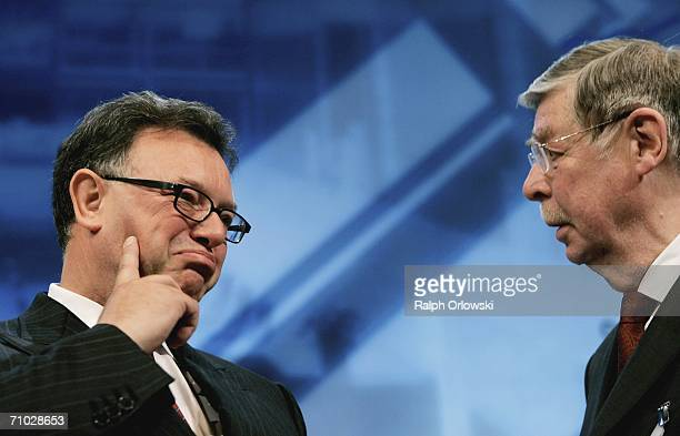 Deutsche Boerse AG Chief Executive Officer Reto Francioni and head of the supervisory board Kurt Viermetz talk during their annual general meeting on...