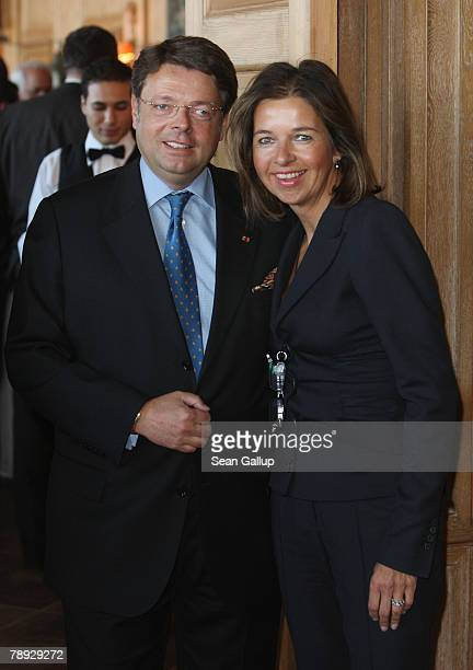 Deutsche Entertainment AG Chairman Peter Schwenkow and his wife Inga GrieseSchwenkow attend the annual New Year Reception at German publishing giant...
