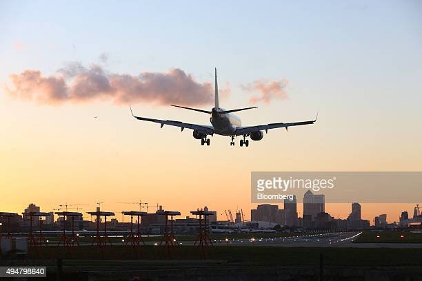 A Deutsche Lufthansa AG aircraft lands at London City Airport in London UK on Wednesday Oct 28 2015 Global Infrastructure Partners LP are looking to...