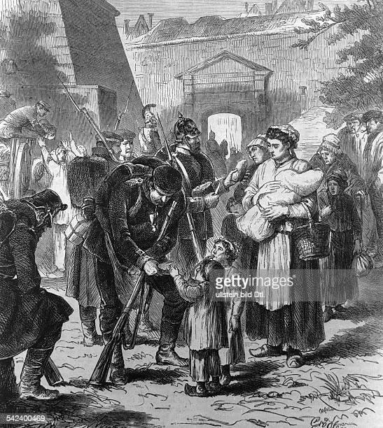Deutsche Soldaten verteilen Brot an diehungernde Bevölkerungne Zeichnung v Grögler1871