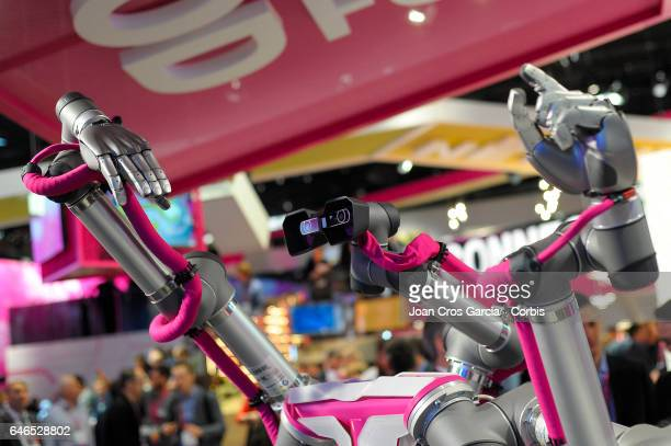 Deutsche Telekom display a robot during the Mobile World Congress on February 28 2017 in Barcelona Spain