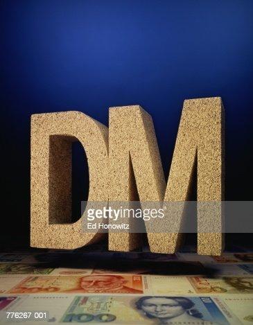 Deutschemark Symbol Floating Above German Currency Stock Photo