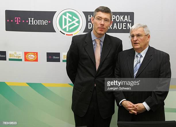 Deutscher FussballBund president Theo Zwanziger stands beside THome board member Christian Illek after the draw of the upcoming Women Indoor Cup on...