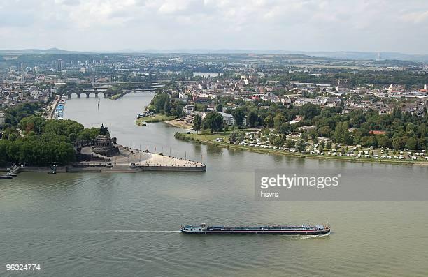 Deutsches Eck und Stadtlandschaft im Coblenz, Deutschland