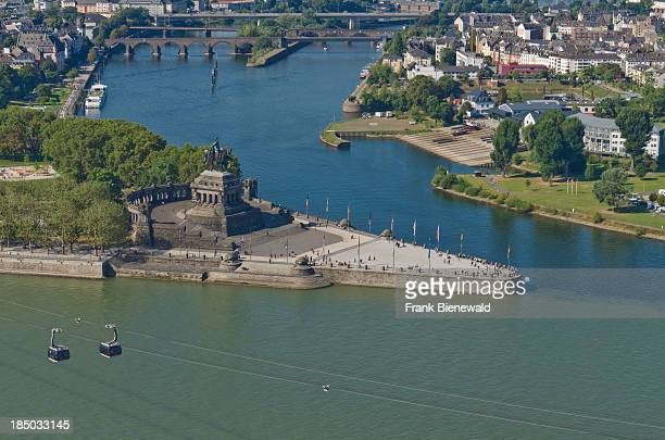 """Deutsches Eck"""", the confluence of the rivers Rhein and Mosel, seen from castle Ehrenbreitstein.."""