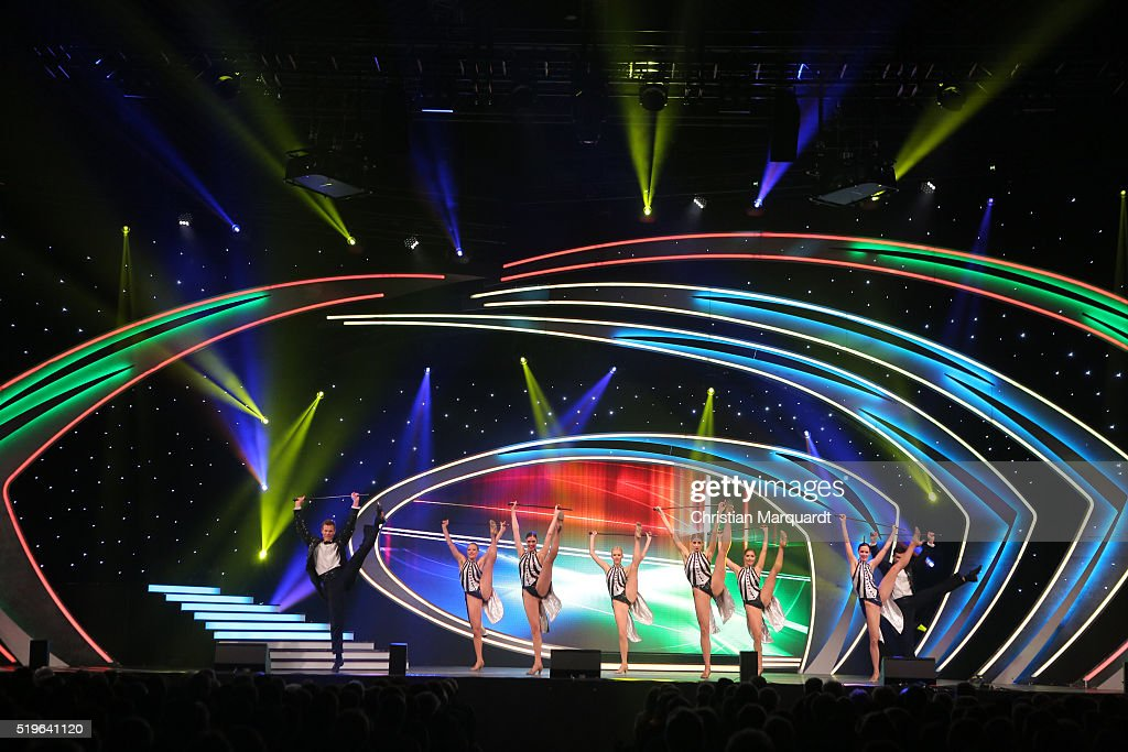 Deutsches Fernseh-Ballett perform on stage during the tv show 'Willkommen bei Carmen Nebel' at Tempodrom on April 7, 2016 in Berlin, Germany.
