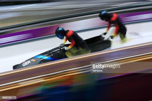 Deutschland 3 Germany 3 SCHNEIDERHEINZE Anja SCHNEIDER Stephanie Bob Bobfahren Bobsleigh two women zweier Frauen Start olympic winter games 2014...