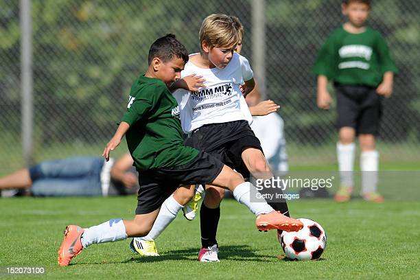 Deutschland and Italian in action during the KOMM MIT amateur tournament at the August Wenzel Stadium on September 16 2012 in Barsinghausen Germany