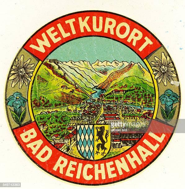 GER Deutschland Bad ReichenhallAlter historischer Kofferaufkleber aus den fuenfziger Jahren