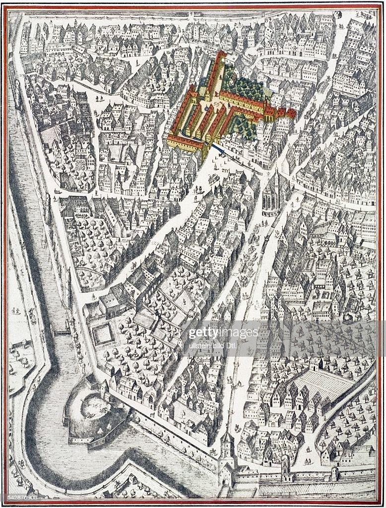 Karte Augsburg.Karte Mit Markierter Fuggerei Alteste Sozialsiedlung Der
