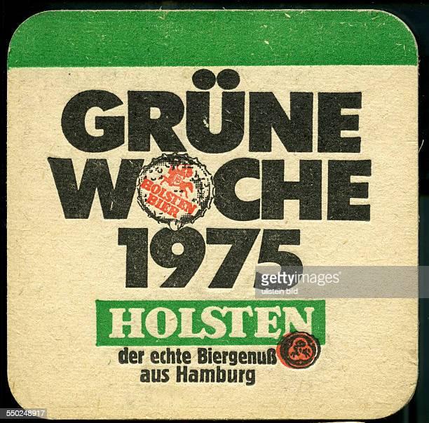 GER Deutschland ca 1970 Bierdeckel Holsten Grüne Woche 1975