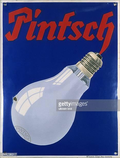 Emailleschild für Glühbirnen der Firma Pintsch 1950er Jahre