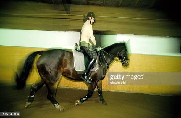 Freizeit Junge Frau beim Reiten einer Halle l DEU Germany Free time Young woman riding in a hall