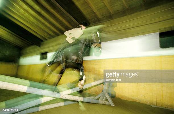 Freizeit Junge Frau beim Reiten einer Halle Springreiten l DEU Germany Free time Young woman riding in a hall