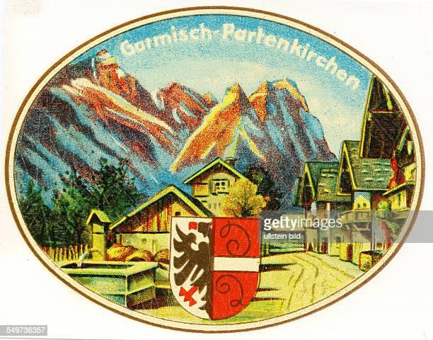 GER Deutschland Garmisch Patenkirchen Alter historischer Kofferaufkleber aus den fuenfziger Jahren