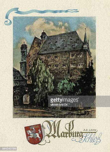 Deutschland Hessen Marburg historische Ansicht des Schlosses mit dem Marburger Stadtwappen Illustration des Grafikers Artur Ritscher für den...
