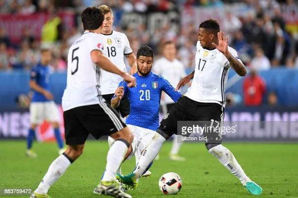 FUSSBALL Deutschland Italien Lorenzo Insigne gegen Mats Hummels Toni Kroos und Jerome Boateng