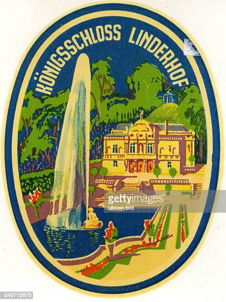 GER Deutschland Koenigsschloss Linderhof Alter historischer Kofferaufkleber aus den fuenfziger Jahren