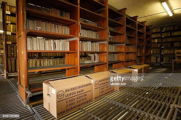 Deutschland Marienbibliothek Halle an der Saale / Der Gemeine oder Gewöhnliche Nagekäfer umgangssprachlich auch Holzwurm genannt hat große Schäden in...