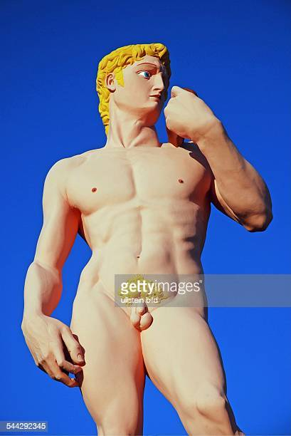 Deutschland NordrheinWestfalen Koeln Nachbildung der DavidSkulptur von Michelangelo angefertigt von dem Kuenstler HansPeter Feldmann auf den...