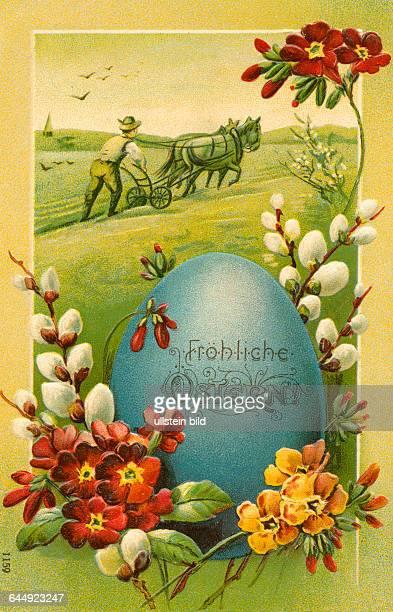 Deutschland Ostern Osterkarte ' Fröhliche Ostern ' Osterei umrangt von Blumen im Hintergrund Bauer bei der Feldarbeit Prägekarte um 1910 Germany...