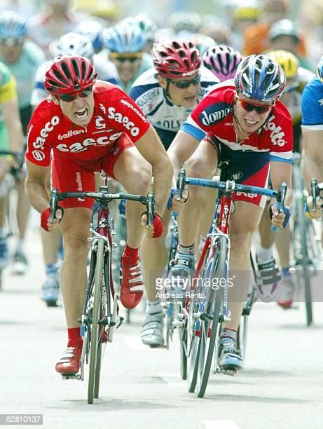 Deutschland Tour 2003 Ansbach Bad Wurzach 4 Etappe/Ansbach Bad Wurzach Sieger Ivan QUARANTA /ITA Team Saeco vor Stefan van DIJCK/NED Team Lotto Domo