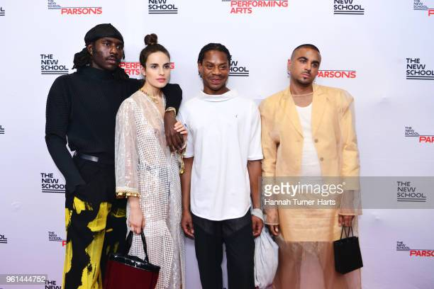 Dev Hynes Ana Kras Telfar Clemens and Raul Lopez at Pier Sixty at Chelsea Piers on May 21 2018 in New York City