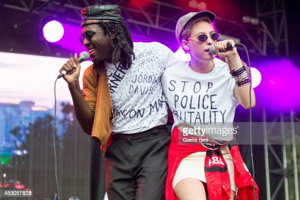 Dev Hynes and Samantha Urbani of Blood Orange and Friends perform on Day 1 of Lollapalooza Festival at Grant Park on August 1 2014 in Chicago United...