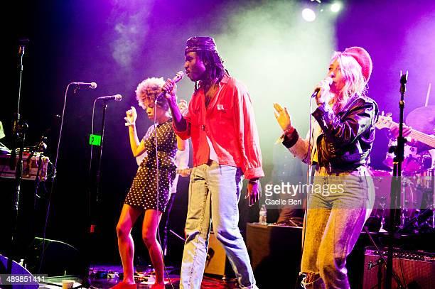 Dev Hynes and Samantha Urbani of Blood Orange perform on stage at El Rey Theatre on April 14 2014 in Los Angeles United States