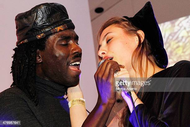 Dev Hynes from musical group Blood Orange and Samantha Urbani perform at the Armory Party 2014 at The Museum of Modern Art on March 5 2014 in New...