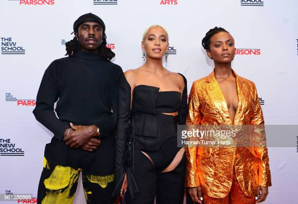 Dev Hynes Solange Knowles and Kelela Mizanekristos attend the 70th Annual Parsons Benefit at Pier Sixty at Chelsea Piers on May 21 2018 in New York...