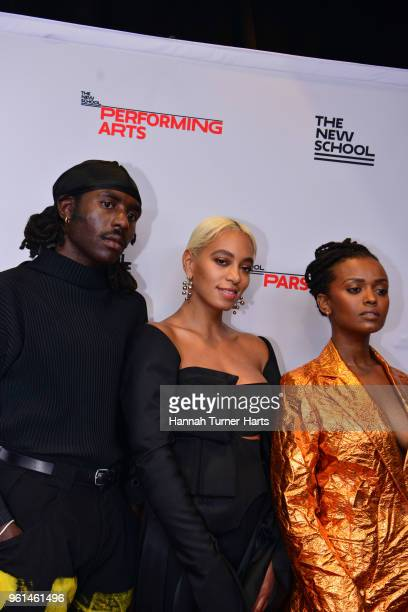 Dev Hynes Solange Knowles Kelela Mizanekristos attend the 70th Annual Parsons Benefit at Pier Sixty at Chelsea Piers on May 21 2018 in New York City