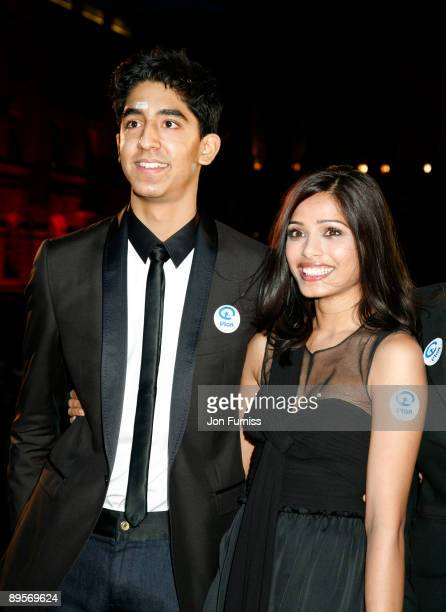 Dev Patel and Freida Pinto attend a screening of 'Slumdog Millionaire' at Somerset House on August 2 2009 in London England
