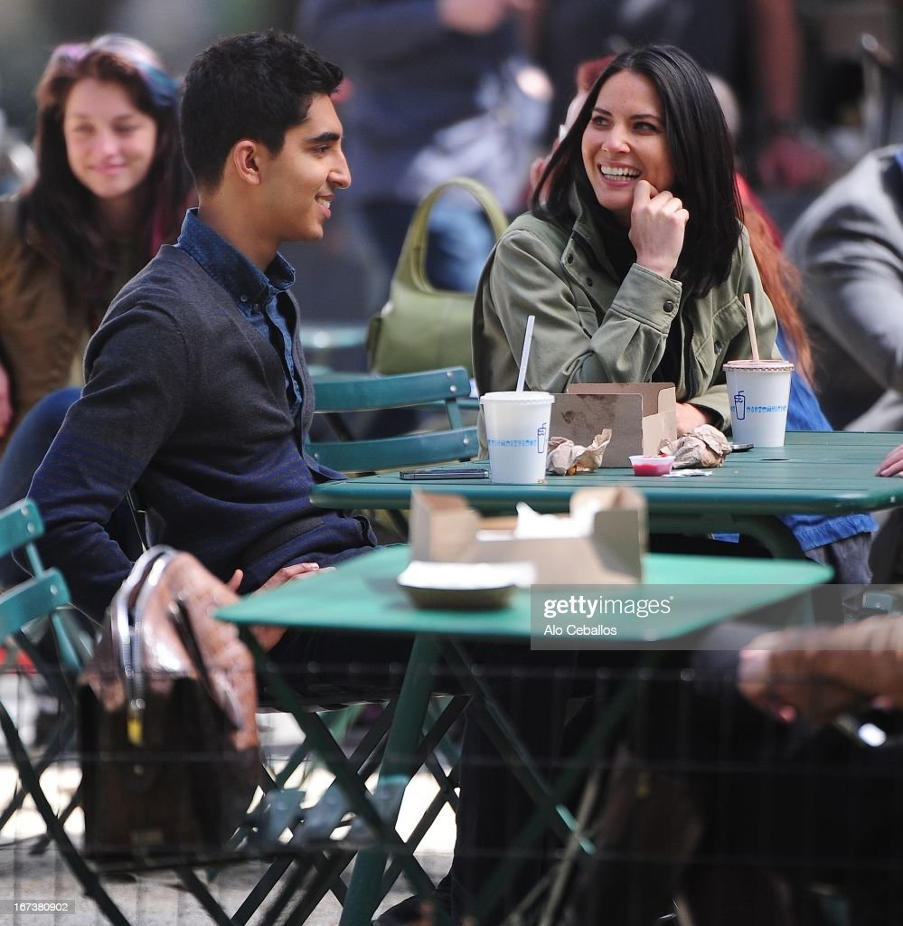Dev Patel and Olivia Munn are seen on the set of 'The Newsroom' on April 24, 2013 in New York City.