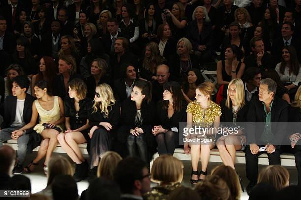 Dev Patel Freida Pinto Alexa Chung MaryKate Olsen Daisy Lowe Liv Tyler Emma Watson Gwyneth Paltrow and Mario Testino attend the Burberry Prorsum...