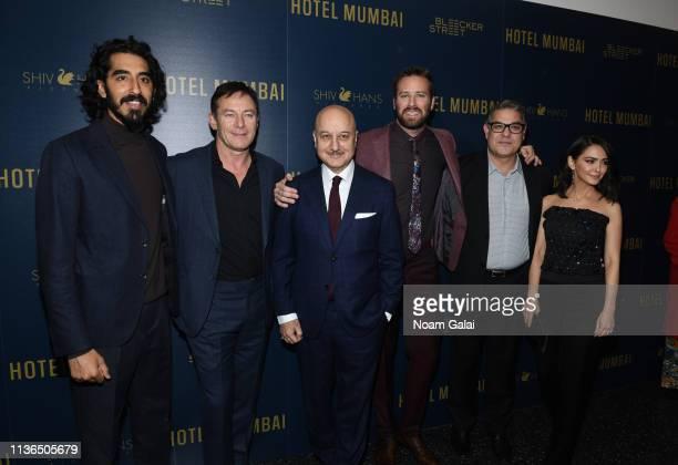 Dev Patel Jason Isaacs Anupam Kher Armie Hammer Mike Gabrawy and Nazanin Boniadi attend the 'Hotel Mumbai' New York Screening at Museum of Modern Art...