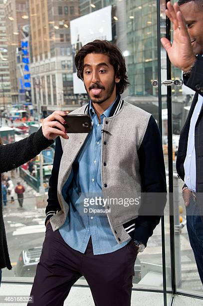 "Dev Patel visits ""Extra"" at their New York studios at H&M in Times Square on March 3, 2015 in New York City."
