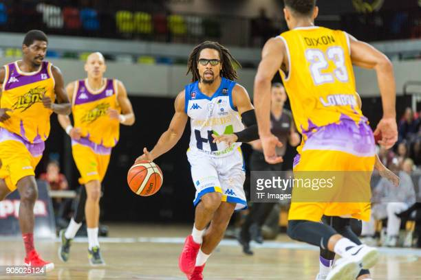 Devan Bailey of Cheshire Phoenix controls the ball during the British Basketball League match between London Lions and Cheshire Phoenix at Copper Box...