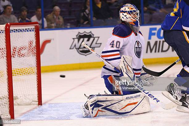 Devan Dubnyk of the Edmonton Oilers allows a goal against the against the St Louis Blues at the Scottrade Center on January 5 2012 in St Louis...