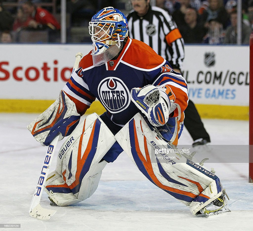 Devan Dubnyk #40 of the Edmonton Oilers prepares for a shot at Rexall Place on April 1, 2013 in Edmonton, Alberta, Canada.